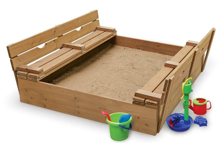 Как сделать песочницу своими руками с лавочками